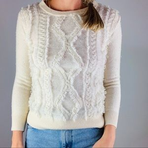 J CREW 100% Merino Wool Cable Crewneck Sweater XS